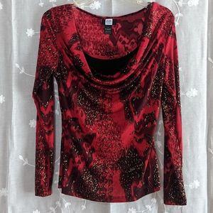 Red & black dressy long sleeve top